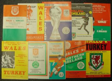 Collection of 10 different WALES football programmes